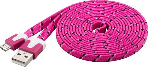 Goobay Καλώδιο πλακέ ροζ USB 2.0 (A) σε micro-USB (B) Φόρτισης & Συγχρονισμού 2μ για Smartphone & Table