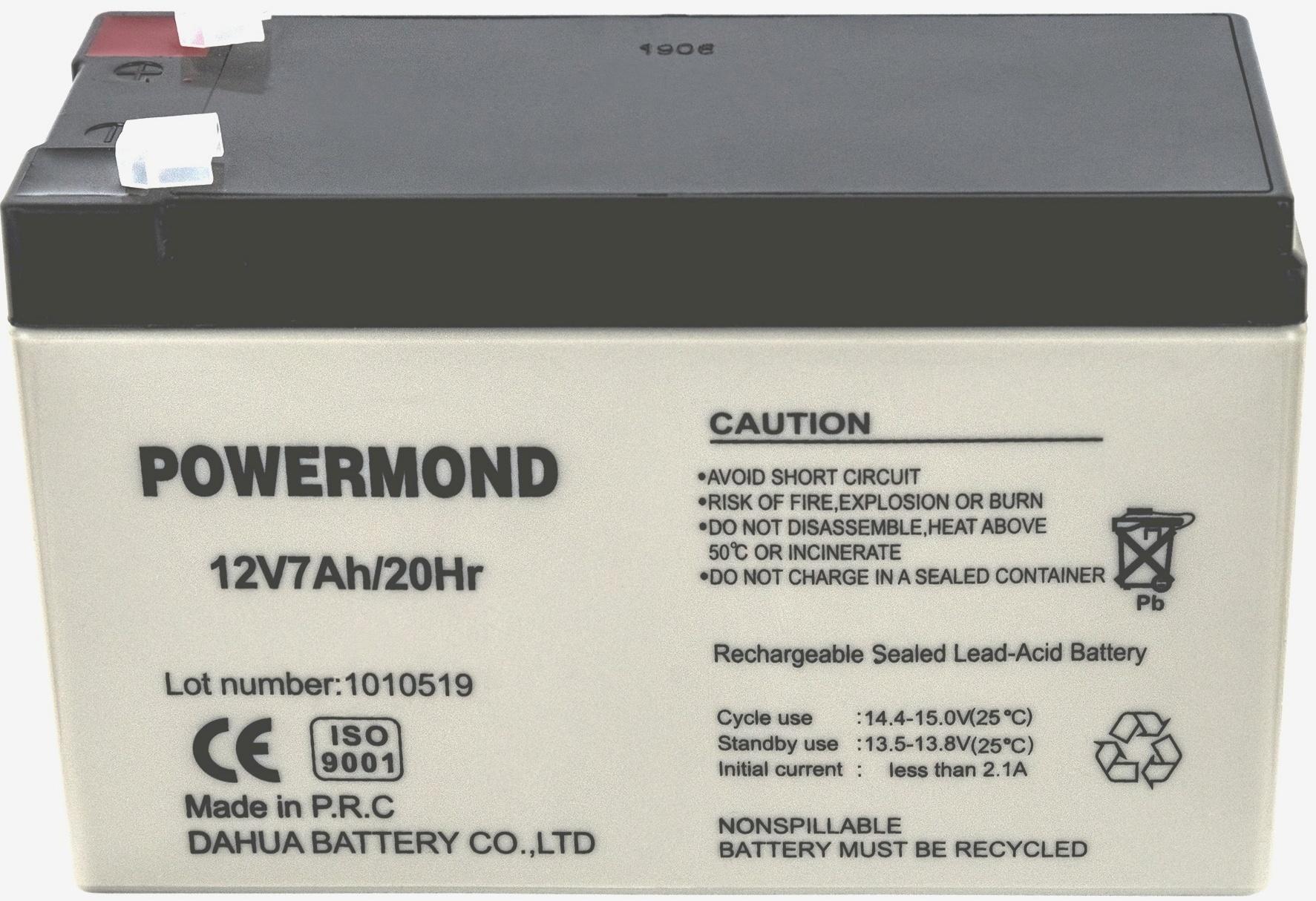 Μπαταρία 12V 7,0AH POWERMOND  Επαναφορτιζόμενη Μολύβδου