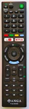 Τηλεχειριστήριο ANGA Free SN300 αντικατάστασης για TFT & LCD τηλεοράσεις SONY