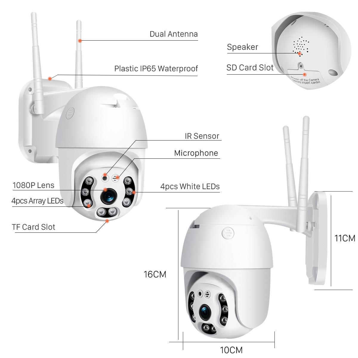 Κάμερα PTZ IP Wi Fi ONVIF 1080P ANGA AQ-8108ISW 2.0 MP Intelligent Alarm Auto Tracking με εφαρμογή CamHi