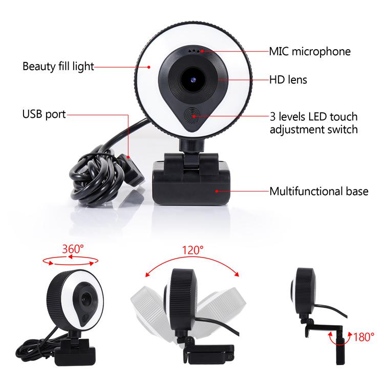 Κάμερα Web ANGA AQ-8109IW με μικρόφωνο Auto Focus Lens HD1080p 360o περιστροφή