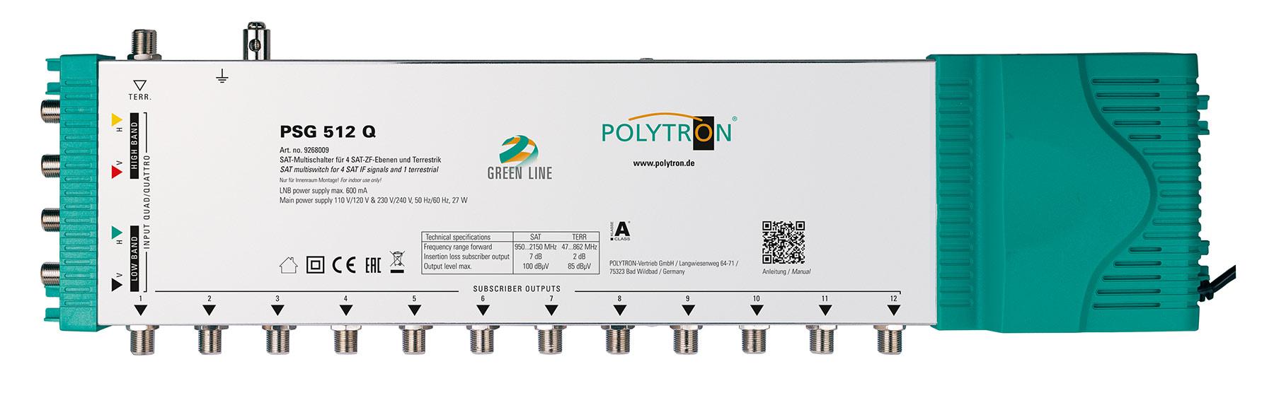 PSG 512Q Πολυδιακόπτης 5/12 (1Δορυφόροι+ Επίγεια-12Εξόδους)POLYTRON