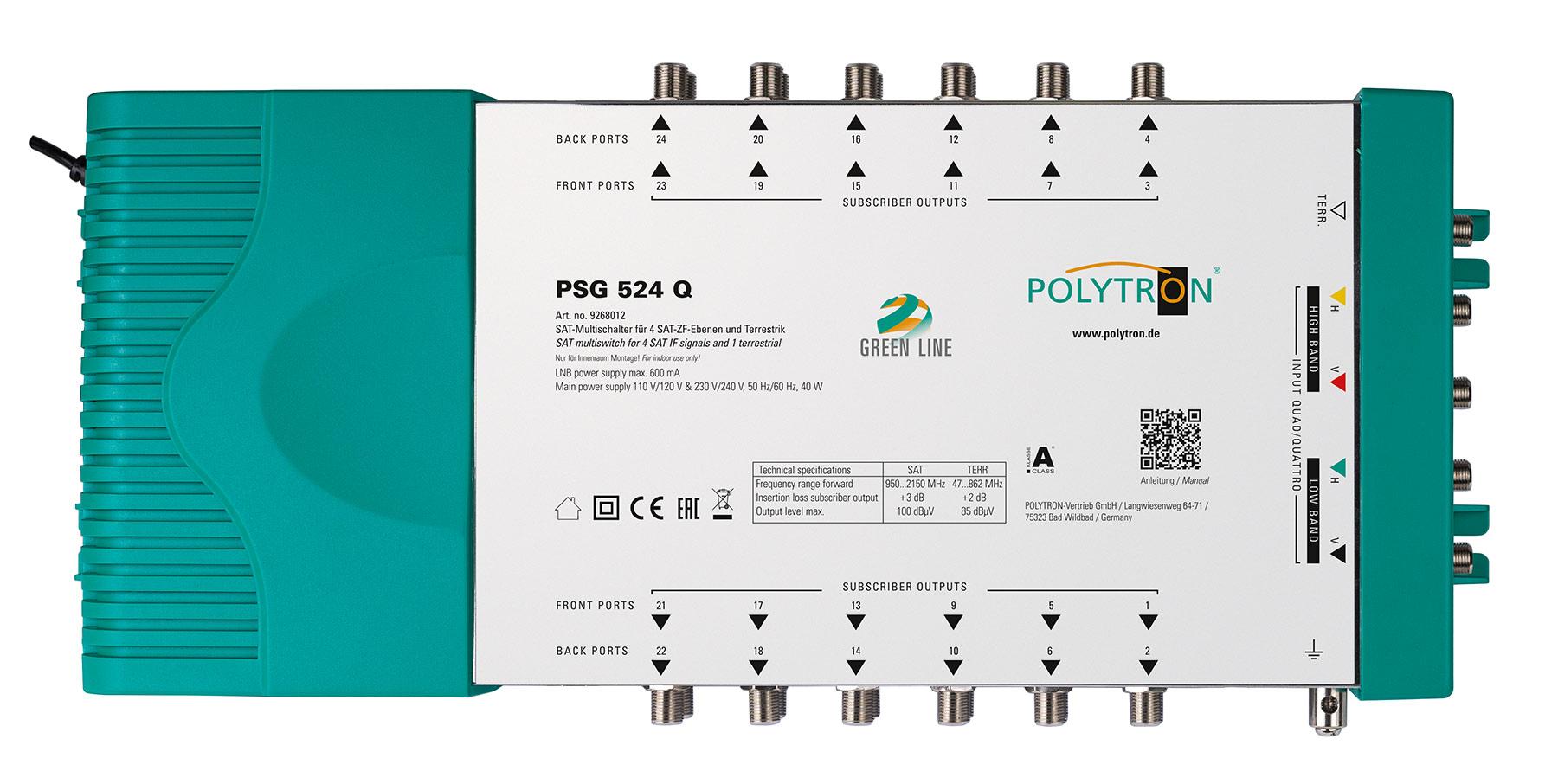 PSG 524Q Πολυδιακόπτης 5/24 ACTIVE (1 Δορυφόροι+ Επίγεια-24 Εξόδους)POLYTRON