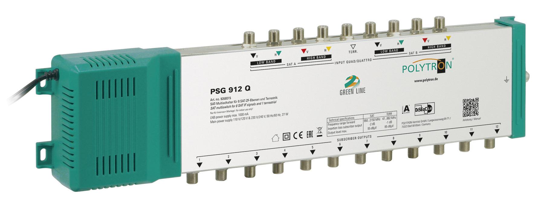 PSG 912Q Πολυδιακόπτης 9/12 ACTIVE (2 Δορυφόροι+ Επίγεια-12Εξόδους)POLYTRON