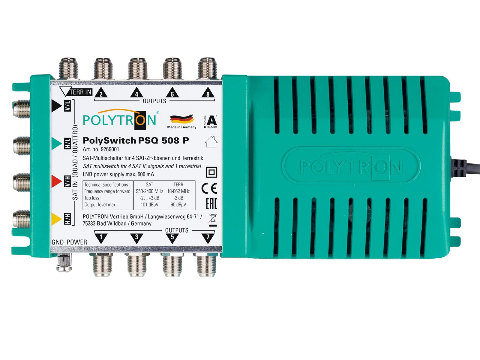 PSQ 508P Πολυδιακόπτης 5/8 ACTIVE (1Δορυφόροι+ Επίγεια-8Εξόδους)POLYTRON