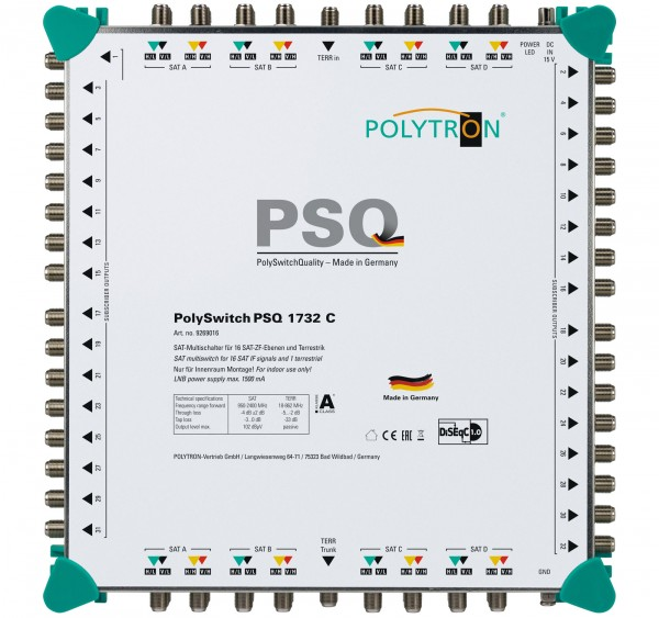 PSQ 1732C  Επεκτεινόμενος Πολυδιακόπτης  17/ 32(4 Δορυφόροι+ Επίγεια-32 Εξόδους)POLYTRON