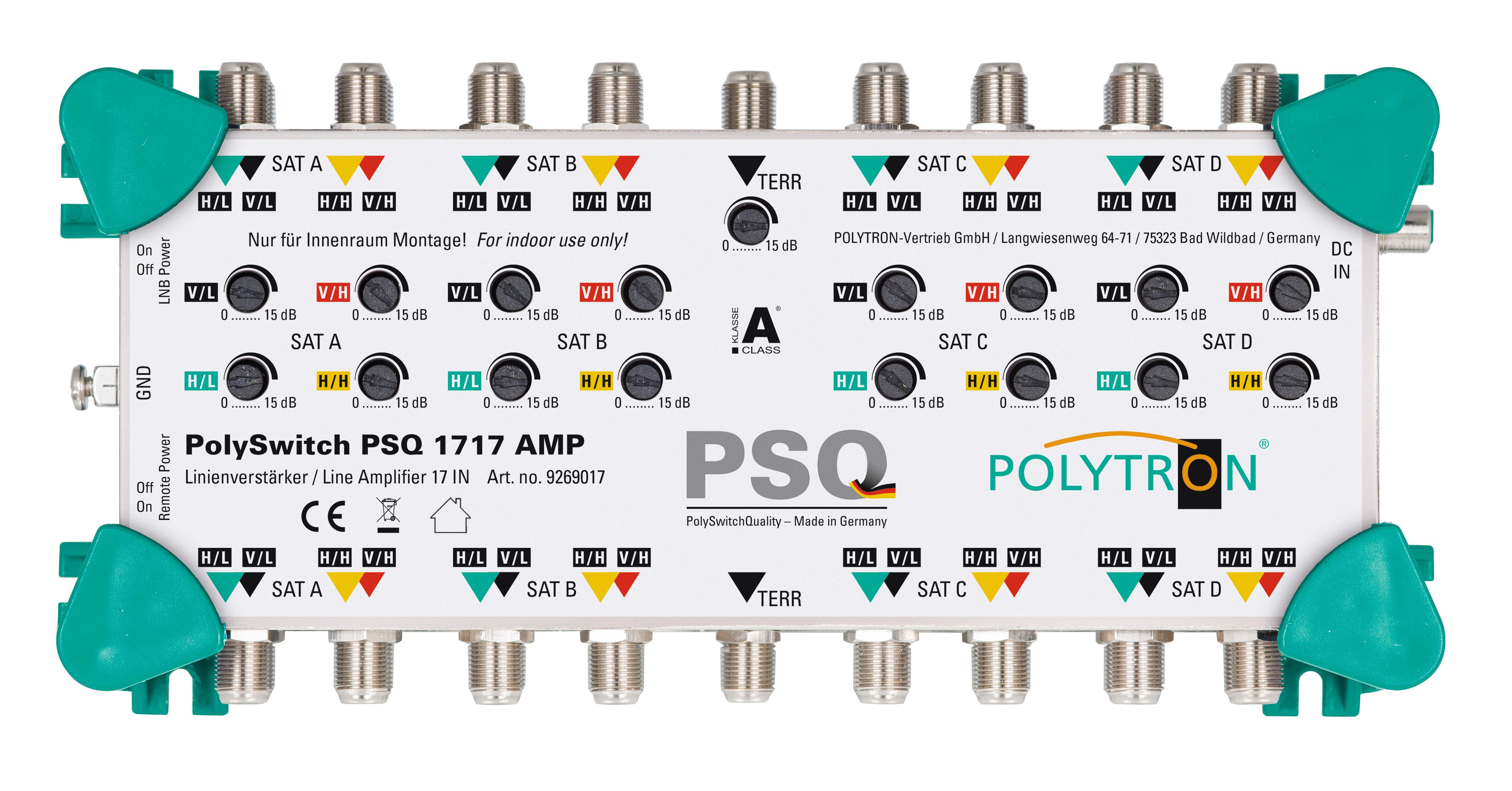 PSQ 1717AMP Ενισχυτής Γραμμής 16xSAT+TERR, SAT 20-24dB POLYTRON