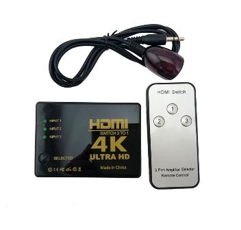 HDMI Switcher PS-303-4K 3 Εισόδων - 1 Εξόδου με τηλεχειριστήριο (δεν περιλαμβάνει τροφοδοτικό 5V/1A)