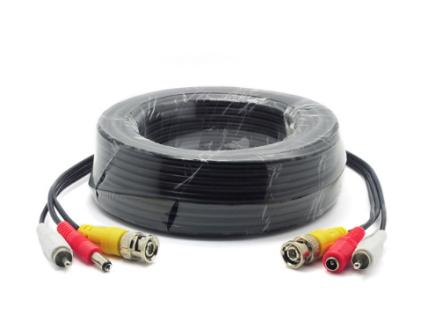 BNC Video + RCA(Audio) + DC Power 15mtr Μαυρο (Ετοιμο) με φίς Video BNC A/Α + DC (A/Θ)
