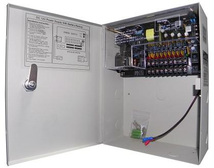 Σταθεροποιημένο τροφοδοτικό 12V / 10A / 120W, 9 εξόδων, Με δυνατότητα προσθήκης μπαταρίας 12V 7Ah, ANGA CP1209-10A-9-B