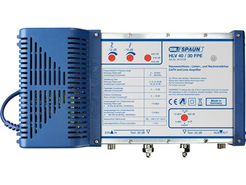 813128 SPAUN HLV40/30FPE Κεντρικός Ενισχυτής & γραμμής Ενίσχυση 40dB/114dBμV Ρύθμιση επιστροφής σήματος και ενίσχυσης εξόδου