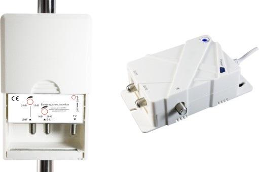 Master 1 Ενισχυτής Ιστού ANGA Δύο εισόδων VHF 28dB/102dBμV, UHF 35dB/102dBμV 4G LTE