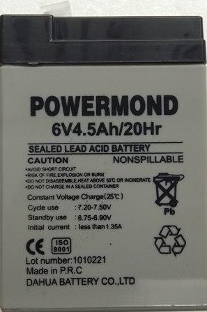Μπαταρία 6V 4,5AH POWERMOND  Επαναφορτιζόμενη Μολύβδου