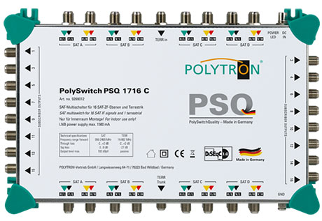 PSQ 1716C  Επεκτεινόμενος Πολυδιακόπτης 17/16 (4 Δορυφόροι+ Επίγεια-16 Εξόδους)POLYTRON