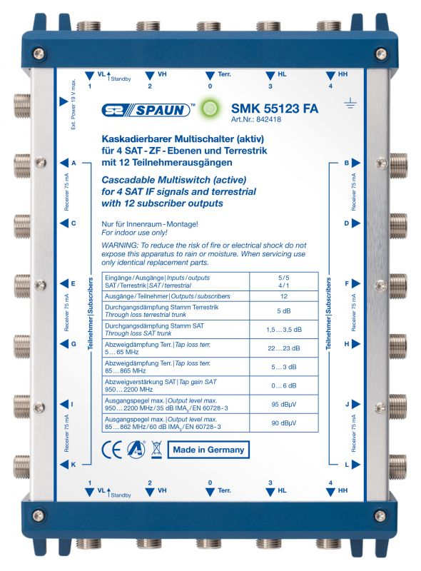 842418 SPAUN SMK55123FA Επέκταση ΕΝΕΡΓΗ για 1 Δορυφόρο + Επίγειο με 12 εξόδους