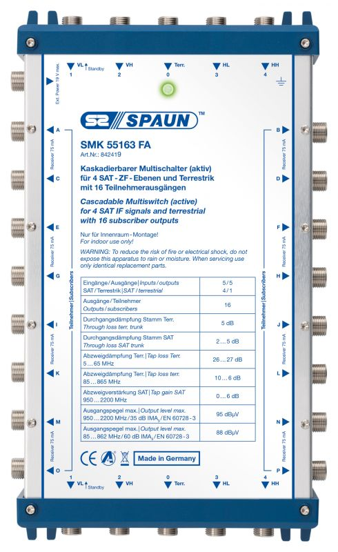 842419 SPAUN SMK55163FA Επέκταση ΕΝΕΡΓΗ για 1 Δορυφόρο + Επίγειο με 16 εξόδους