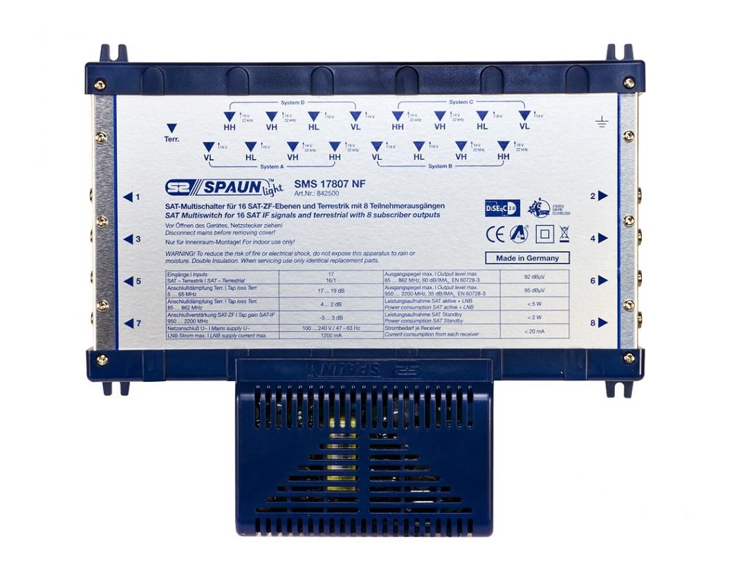 842500 SPAUN SMS17807NF Πολυδιακόπτης 4 Δορυφόροι + Επίγειο σε 8 εξόδους