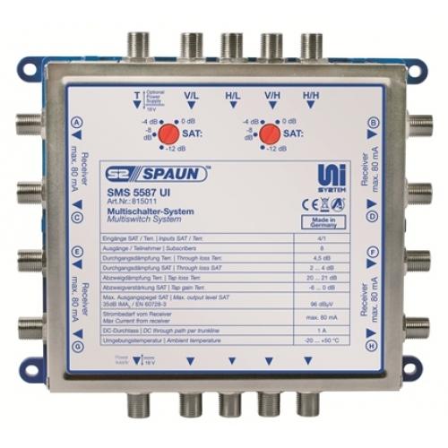 815011 SPAUN SMS5587UI Πολυδιακόπτης 1 Δορυφόρο + Επίγειο σε 8 εξόδους