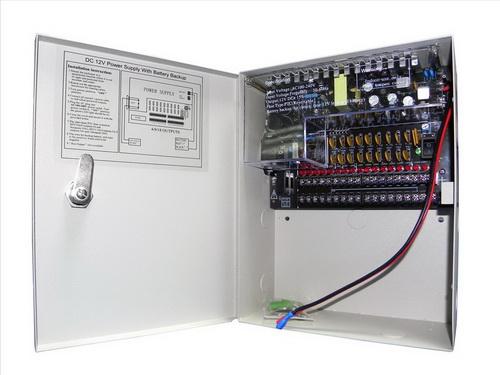 Σταθεροποιημένο τροφοδοτικό 12V / 10A / 120W, 18 εξόδων, Με δυνατότητα προσθήκης μπαταρίας 12V 7Ah, CP1209-10A-18-B