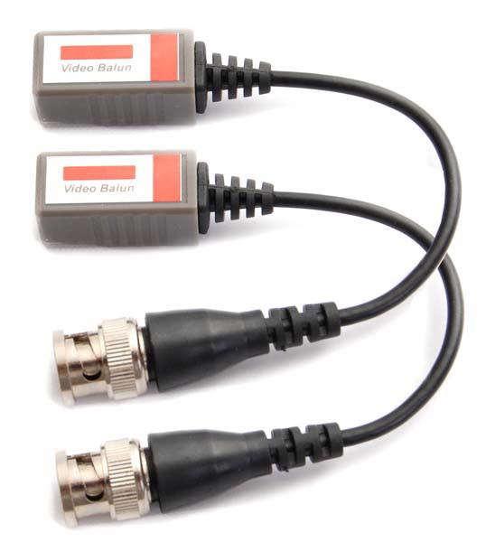 ANGA Video Balun Παθητικό PS-H101C-2 (Ζεύγος) (Συμβατό με Analog, AHD, TVI, CVI)1080P-3MP-4MP-5MP με Προστασία υπέρτασης 400 - 600 Μέτρα από αρσενικό BNC με καλώδιο σε ακροδέκτη με βίδες